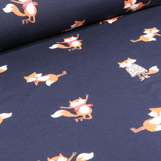 Tissu Sweat léger envers gratté Happy renard sur fond Bleu marine