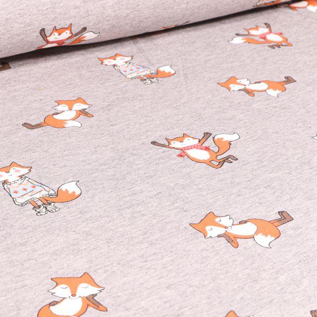 Tissu Sweat léger envers gratté Happy renard sur fond Gris clair chiné