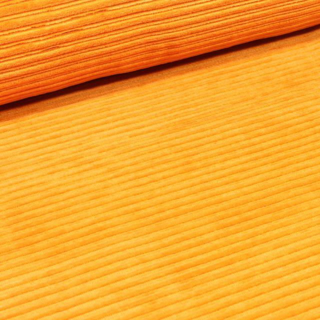 Tissu Jersey Côtelé Aspect Velours Jaune moutarde
