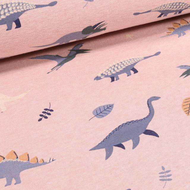 Tissu  Sweat envers minky Dinosaures et feuilles sur fond Rose chiné