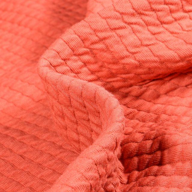 Tissu Sweat gaufré uni Monica Orange