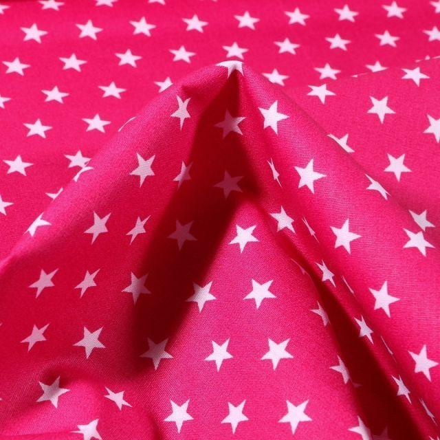 Tissu Coton imprimé Etoiles 1 cm sur fond Rose fuchsia - Par 10 cm