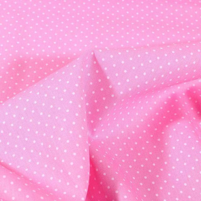 Tissu Coton imprimé Mini pois 2 mm sur fond Rose - Par 10 cm