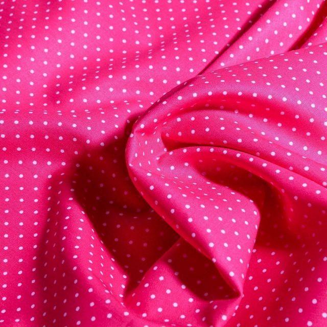 Tissu Coton imprimé Mini pois 2 mm sur fond Rose fuchsia - Par 10 cm