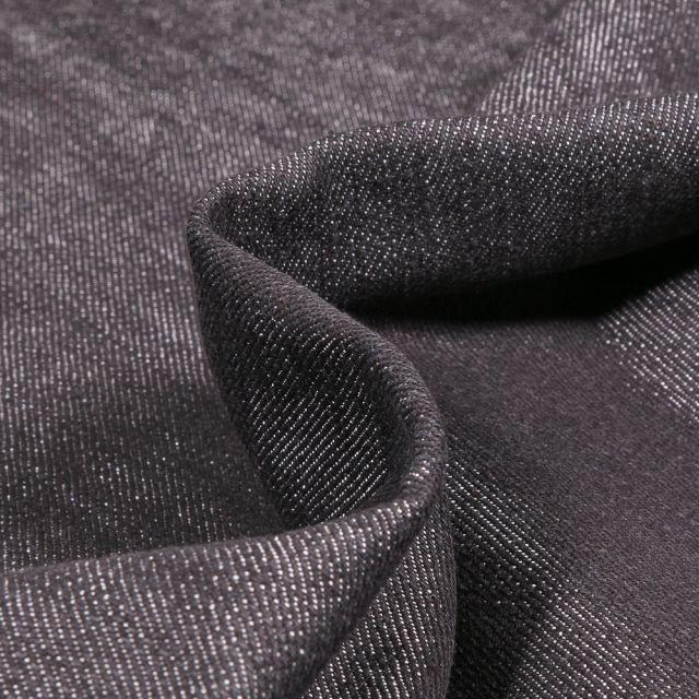 Tissu Jean Denim lavé extensible Noir