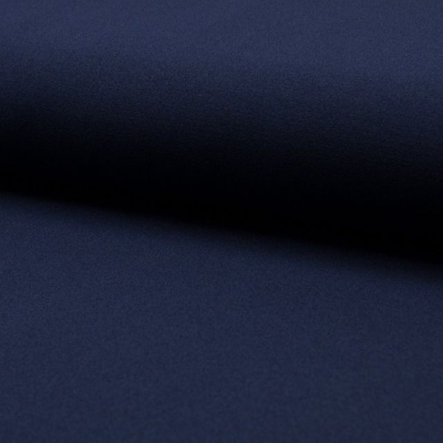 Tissu Crêpe Scuba Uni Bleu marine - Par 10 cm
