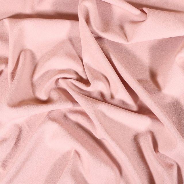 Tissu Crêpe Scuba Uni Rose pâle - Par 10 cm