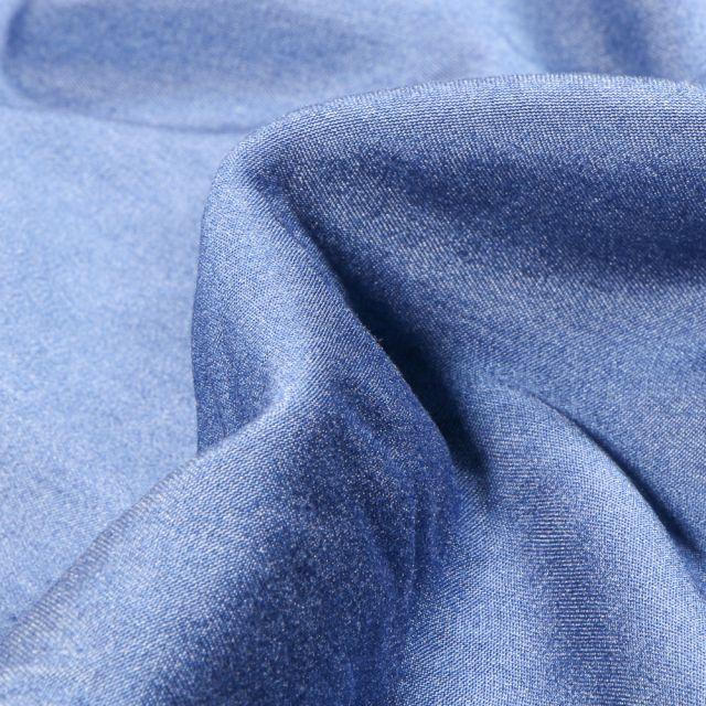 Tissu Chambray Viscose uni Bleu denim