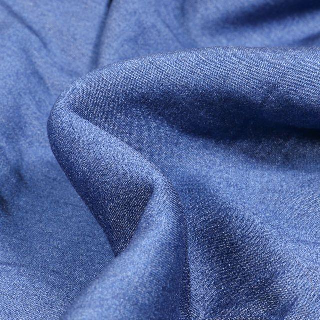 Tissu Chambray Viscose uni Bleu foncé