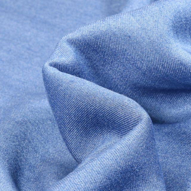 Tissu Chambray Viscose uni Bleu