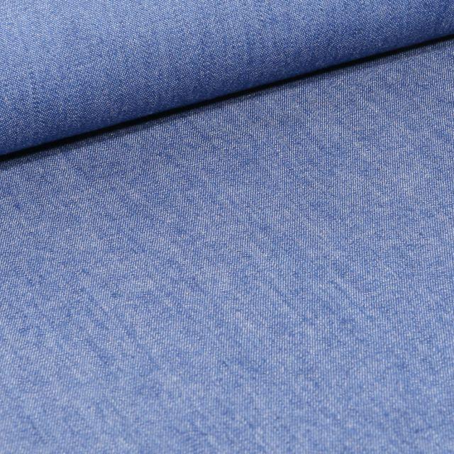 Tissu Chambray de coton uni Bleu jean