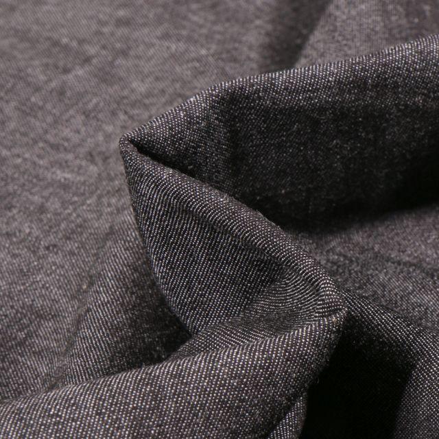 Tissu Chambray de coton uni Noir
