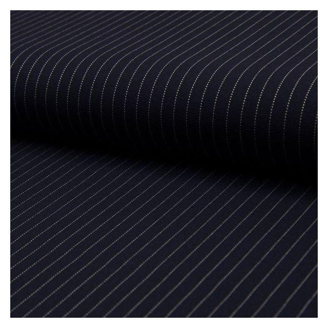 Tissu Jersey Milano Rayures Blanches sur fond Bleu marine - Par 10 cm