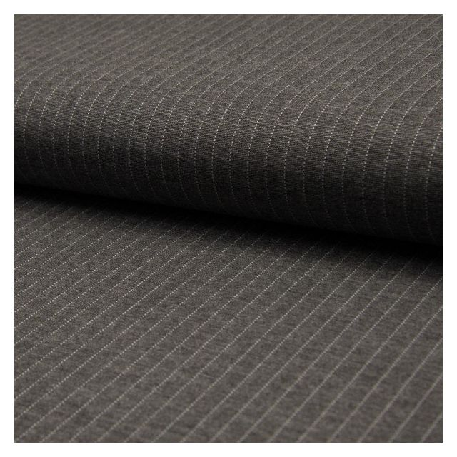 Tissu Jersey Milano Rayures Blanches sur fond Gris - Par 10 cm