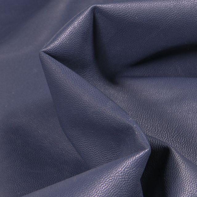 Tissu Simili cuir souple d'habillement uni Inès Bleu nuit