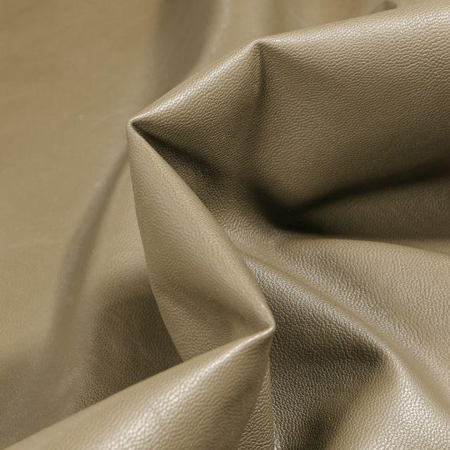 Tissu Simili cuir souple d'habillement uni Inès Vert kaki