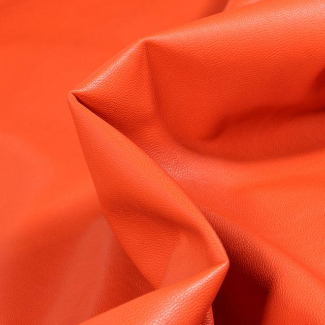Tissu Simili cuir souple d'habillement uni Inès Orange