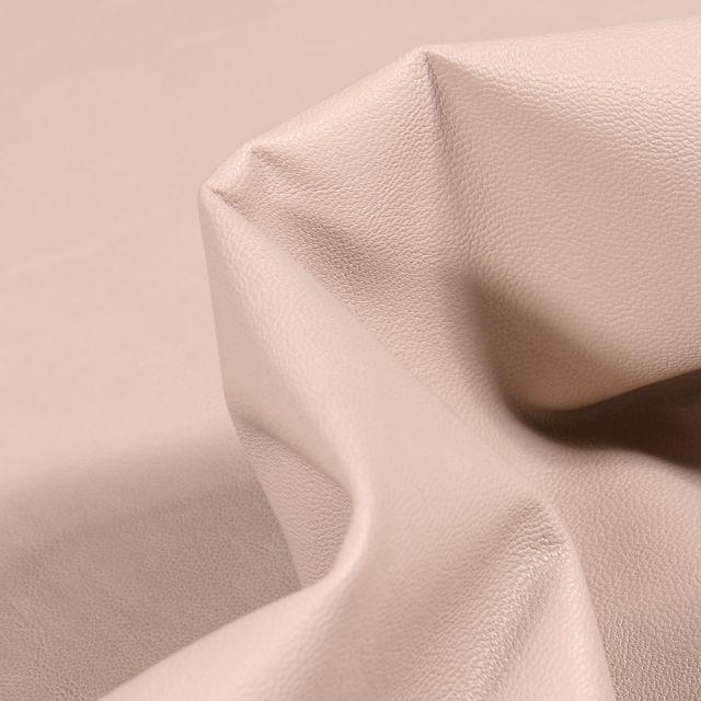 Tissu Simili cuir souple d'habillement uni Inès Beige sable