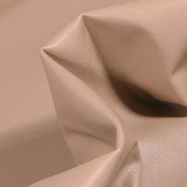 Tissu Simili cuir souple d'habillement uni Inès Taupe