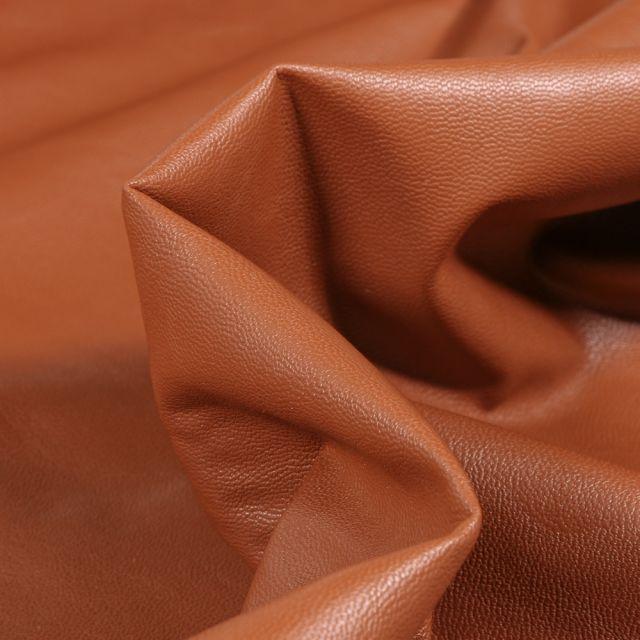 Tissu Simili cuir souple d'habillement uni Inès Terracotta