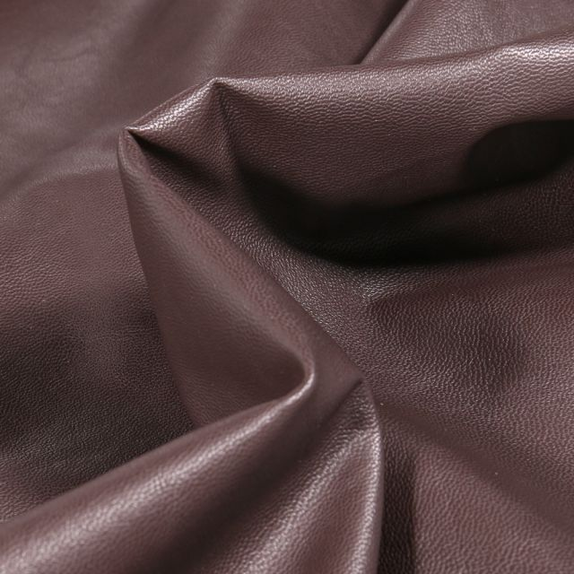 Tissu Simili cuir souple d'habillement uni Inès Marron chocolat
