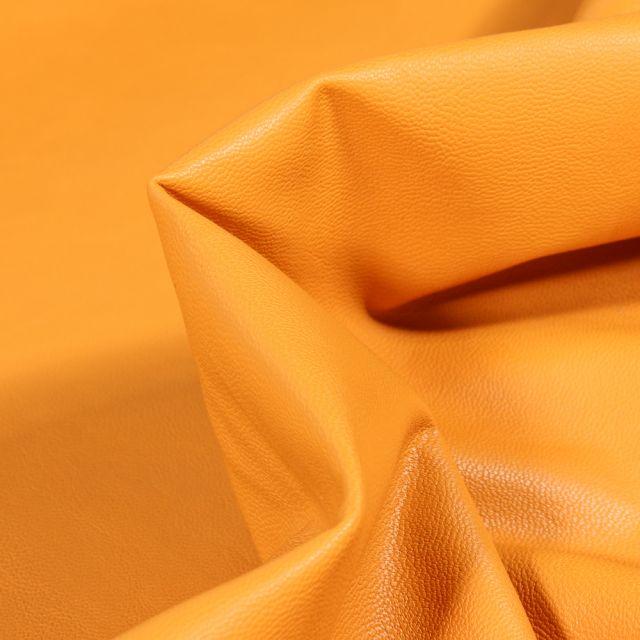 Tissu Simili cuir souple d'habillement uni Inès Jaune
