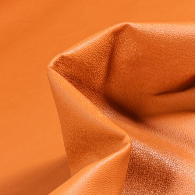 Tissu Simili cuir souple d'habillement uni Inès Caramel