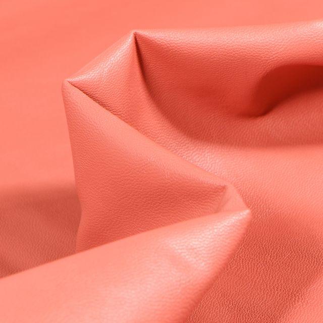 Tissu Simili cuir souple d'habillement uni Inès Rose poudré