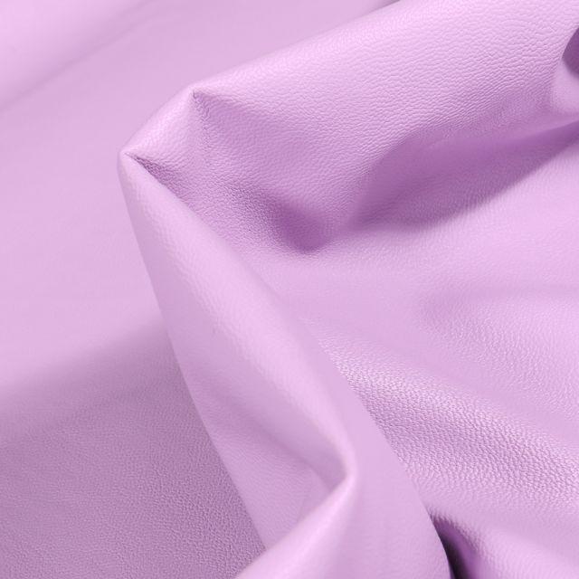 Tissu Simili cuir souple d'habillement uni Inès Lilas