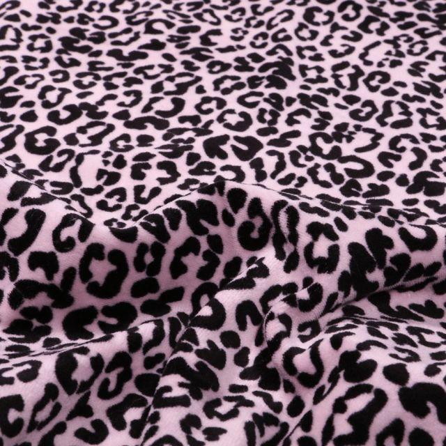 Tissu Jersey Velours Bio Motif léopard en relief sur fond Rose - Par 10 cm