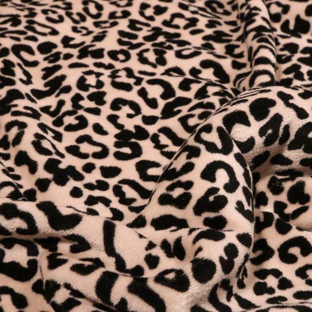 Tissu Jersey Velours Bio Motif léopard en relief sur fond Beige - Par 10 cm