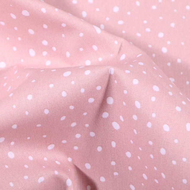 Tissu Coton imprimé Bio Gouttelettes blanches sur fond Rose pâle - Par 10 cm