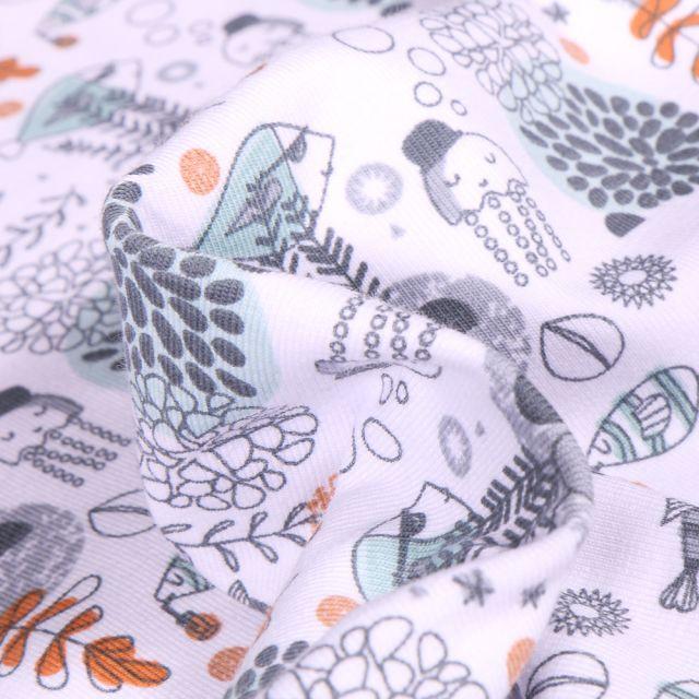 Tissu Jersey Coton Bio Fonds marins sur fond Blanc