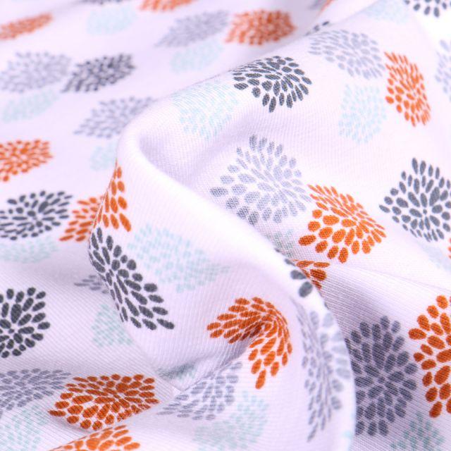 Tissu Jersey Coton Bio Oursins colorés sur fond Blanc