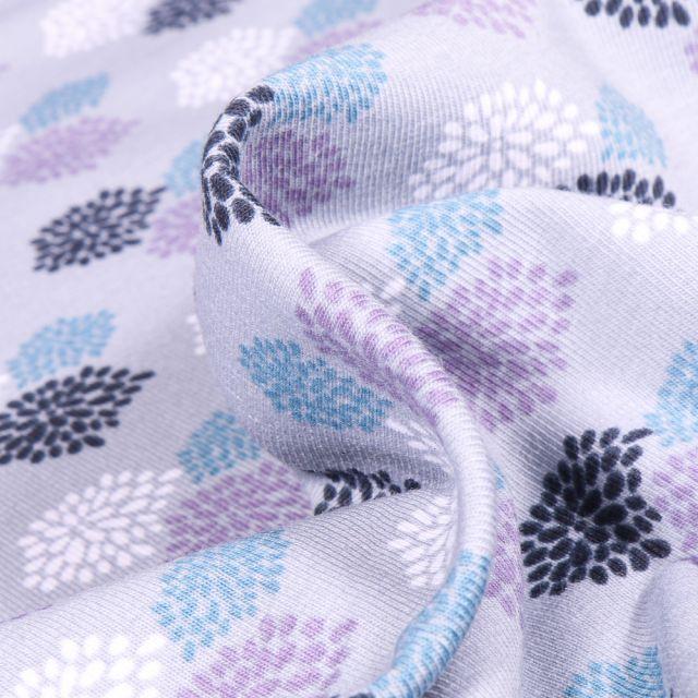 Tissu Jersey Coton Bio Oursins colorés sur fond Gris