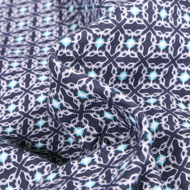 Tissu Jersey Coton Bio Motifs carreaux de ciment sur fond Bleu marine
