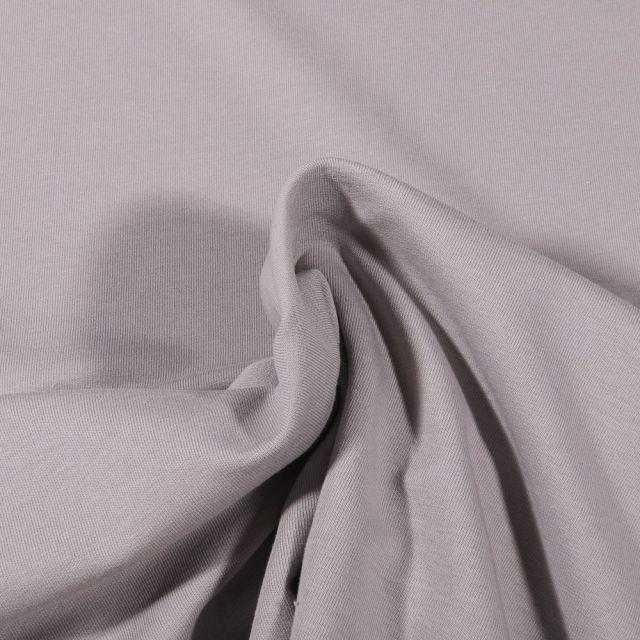 Tissu Jersey coton envers gratté Bio Uni  Gris clair - Par 10 cm