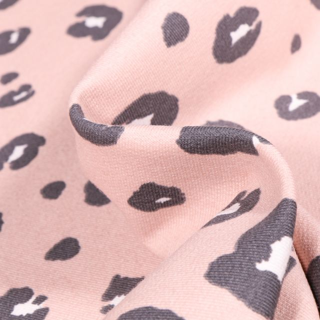 Tissu Jersey Coton Bio Tâche léopard sur fond Rose nude