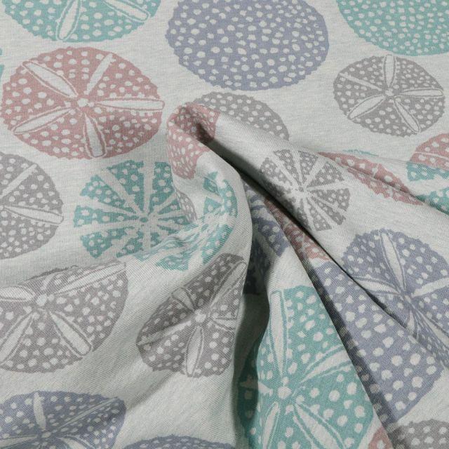 Tissu Sweat envers molletonné Bio Oursins sur fond Vert menthe clair - Par 10 cm