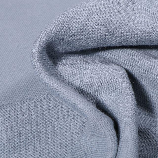 Tissu Bord côte uni Bio Bleu gris