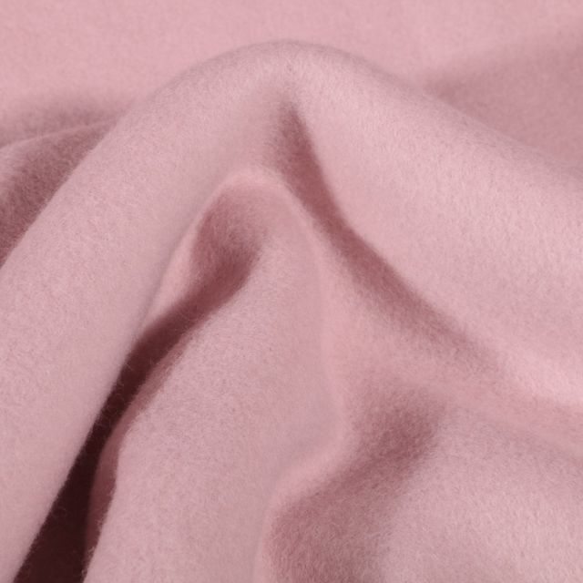 Tissu Polaire Coton Bio uni Rose - Par 10 cm