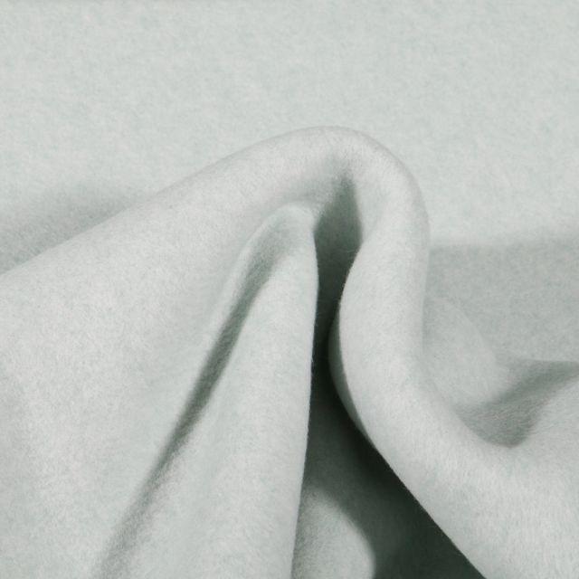 Tissu Polaire Coton Bio uni Vert menthe clair - Par 10 cm