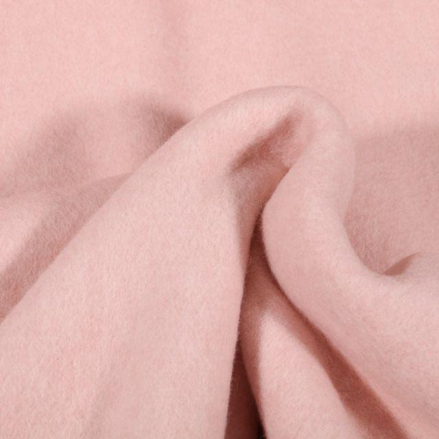 Tissu Polaire Coton Bio uni Rose pâle - Par 10 cm