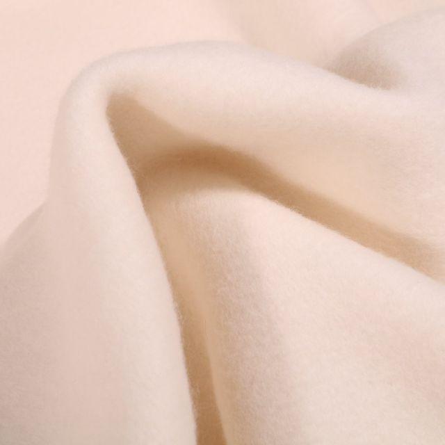 Tissu Polaire Coton Bio uni Ecru - Par 10 cm