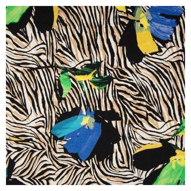Tissu Jersey viscose imprimé zébré Fleurs bleues, vertes et jaunes sur fond Blanc - Par 10 cm