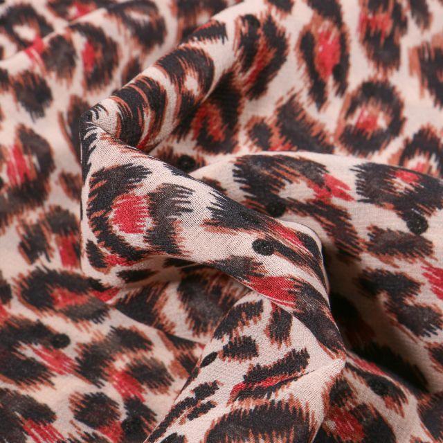Tissu Mousseline Tâches léopard rouge sur fond Beige