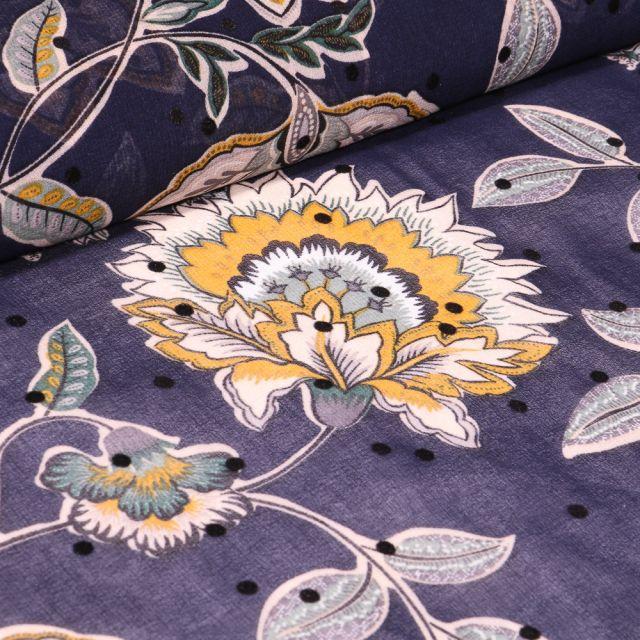 Tissu Mousseline Fleurs et pois en relief velours sur fond Bleu