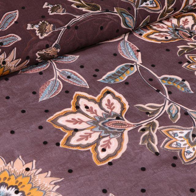 Tissu Mousseline Fleurs et pois en relief velours sur fond Marron