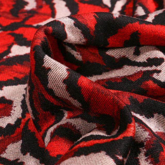 Tissu Jersey  Milano Roxane rouge sur fond Blanc