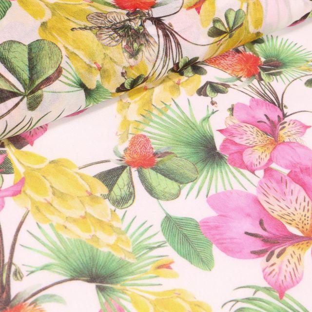 Tissu Crêpe lisse Fleurs et feuilles exotiques sur fond Blanc cassé